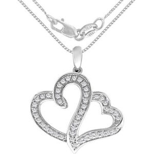 Heart to Heart Genuine Dimond Necklace